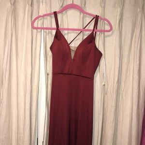 Burgundy long prom dress with slit and tied back